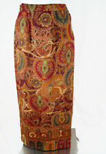 Talbots Wool Blend Full Length Skirt Women's Size 6 Wrap Around Style Paisley