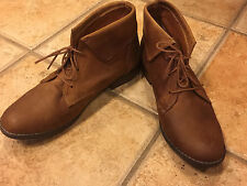 STEVE MADDEN STINGREI ANKLE BOOTIE BOOT COGNAC BROWN LEATHER LACE UPS 9 M NEW