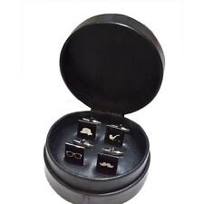 2 Pairs Mix & Match Retro CUFFLINKS Xmas Present in Leather Travel Case GIFT Box
