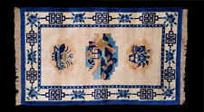 OLD ANTIQUE CHINESE PEKING ART DECO RUG  3x5 BLUE CREAM SCENIC FLOWERS W/ BORDER