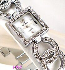 Ladies Silver Rhodium Plated Designer Duo Kiss Dress Watch,w/ Swarovski Crystals