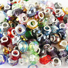 Wholesale 14mm Faceted Crystal Glass Findings European Beads Charms Bracelets