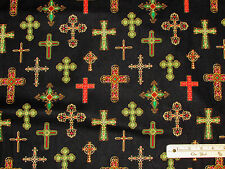 Divine Crosses Religious Michael Miller Christmas Fabric  by the 1/2 Yard CX4653
