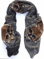 NEW Large Fashion Dark Gray Brown Skull Punk Womens Long Scarf Shawl USA SHIP