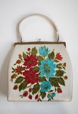 Vintage 60's L AND M BY EDWARDS JACQUARD HANDBAG Tapestry Folk Structured Purse