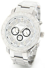 NEW JOJINO JOE RODEO MENS DIAMOND WATCH SILVER TONE CASE METAL BAND + 2 STRAPS