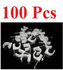 Pack of 100 RG59/RG6 10mm Circle Cable Clips w/ Steel Nail for CCTV & Satellite