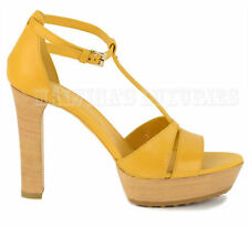TOD'S SHOES PLATFORM SANDALS ANKLE STRAP YELLOW LEATHER  sz 37 / 7