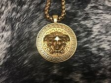 Pre Owned Men's Versace Necklace 12.5in W/Medusa Head Pendant 2.5in Gold Plated