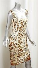ROBERTO CAVALLI Womens Yellow Leopard Print Silk Ruched Sheath Dress 44/10 NEW