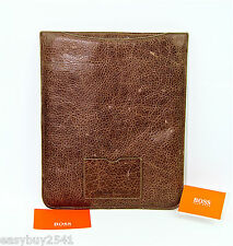 HUGO BOSS ORANGE LABEL Noura IPAD BROWN LEATHER CASE SLEEVE
