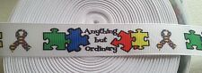 "AUTISM AWARENESS GROSGRAIN RIBBON-""ANYTHING BUT ORDINARY""PUZZLE-LANYARD-7/8""X1YD"
