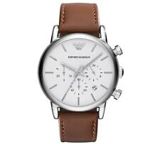 Emporio Armani AR1846 White Dial Chronograph Brown Leather Band Watch New In Box