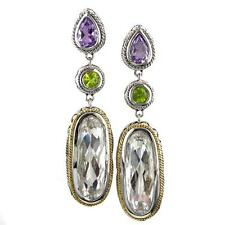 Andrea Candela 18k Gold Silver Pink Amethyst, White Quartz Earrings ACE356-PAPWQ