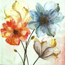 4x Single Table Party Paper Napkins for Decoupage Decopatch Portrait of Flowers