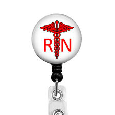 RN Badge Reel Red Nurse Retractable Badge Holder Medical Student Name ID, 330D