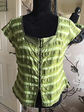 MINUET LADIES SILK MIX GREEN FULLY LINED BLOUSE SIZE 14
