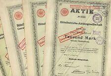 4er Satz Hotelbetriebs-AG – 4x Aktien zu 1000 Mark von 1899, 1904, 1905 u. 1911