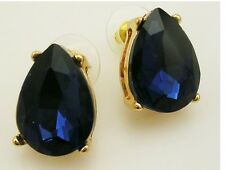 "Joan Rivers Faceted Cabochon PIERCED  Earrings   3/4""  Navy Blue"