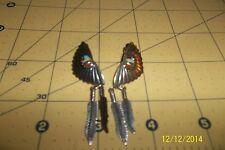 Vintage Southwestern Sterling Silver half Moon fan Turquoise Pierced Earrings