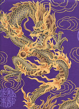 FIRE-BREATHING DRAGONS: JAPANESE ASIAN ORIENTAL QUILT FABRIC - PURPLE -1 Yd