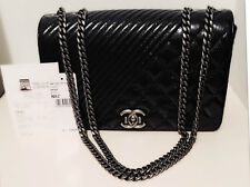 *NEW*CHANEL*Quilted Leather Flap bag*Black*Gunmetal Chain*Tags&Receipt*RARE*