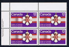 Canada #736(21) 1977 12 cent ORDER OF CANADA UPPER LEFT PLATE BLOCK MNH