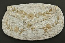 Vintage/antique micro bugle tube beaded clutch purse evening bag alabaster glass