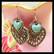 1 Pair New Classical Natural Hot Turquoise Cute Tibet Silver Hook Earrings