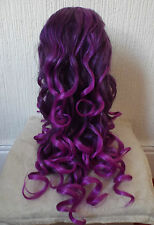 New Long Purple Ladies Wig Glamour Cosplay Fancy Dress Costume BNWT