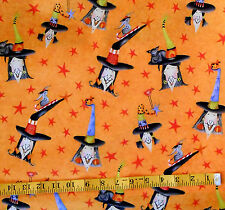 """FABRIC - HENRY GLASS """"SPOOKTACULAR TOO"""" WITCH CATS HALLOWEEN 100% COTTON 1.25 YD"""