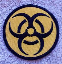 "BIOHAZARD PATCH Yellow 3"" Cloth Badge/Emblem Biker Jacket Bag Iron or Sew On"