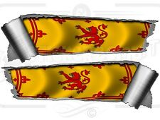 Pair Rolled Ripped  Metal Effect Rampant Lion Scottish Flag Vinyl Car Stickers
