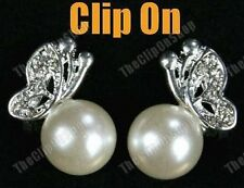 COMFY CLIP ON pearl&crystal BUTTERFLY silver EARRINGS