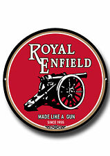 ROYAL ENFIELD ROUND METAL SIGN.VINTAGE BRITISH MOTORCYCLE.GARAGE MOTORCYCLE SIGN