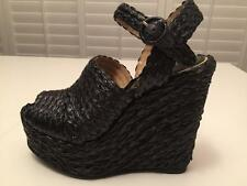 $645 DOLCE & GABBANA Black Straw Woven Platform Wedge Sandals Shoes 40 (9/9.5)