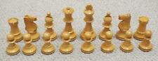 SET OF 16 WEIGHTED STAUNTON PATTERN WOODEN WHITE CHESS PIECES