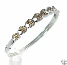 Solid 925 Sterling Silver Lab Simulated Diamond Hinged Bangle Bracelet '