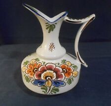 Delft Polychrome Pitcher, White with Flowers and Handle