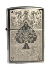 Zippo Lighter 28323  Ace Of Spades Filigree Black Ice Chrome Classic NEW