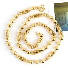"18K Yellow Gold Filled Carved Men's Necklace Beads Link 24""Chain Fashion Gift"