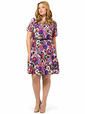 Spruce & Sage Baroque Floral Fit And Flare Skater Style Reds Dress Plus Size 16