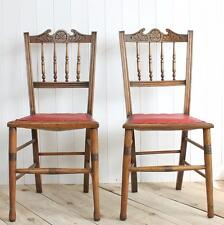 Vintage Antique Chairs Pair Wood Dining Bedroom Side Leather Red Dressing Chair