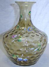 Antique Victorian Hobbs Brockunier Glass Vase Enamel Painted Floral Thumbprint