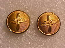 Pair of WW2 US Army Air Corps Brass Cadet Visor Hat Side Buttons