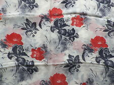 Retro Semi-Sheer Silk Chiffon Dress Making Fabric Red Blue Abstract Floral