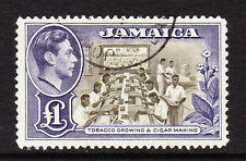 JAMAICA 1938-52 £1 CHOCOLATE & VIOLET SG 133a FINE USED.