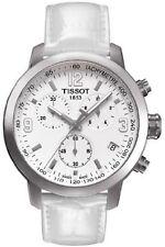 T0554171601700 Tissot Mens PRC 200 Quartz White Chrono Dial White Leather Strap