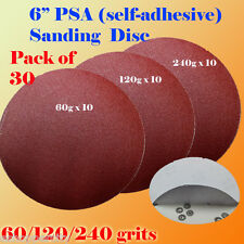 "30x 6"" PSA Self Adhesive 60/120/240  Grit Sanding Disc Stick On Sandpaper Peel"