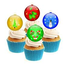 Christmas Baubles Collection 12 Edible Stand Up wafer paper cake toppers tree